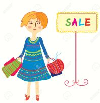 16824432-Girl-with-shopping-bags-sale-cartoon-Stock-Vector