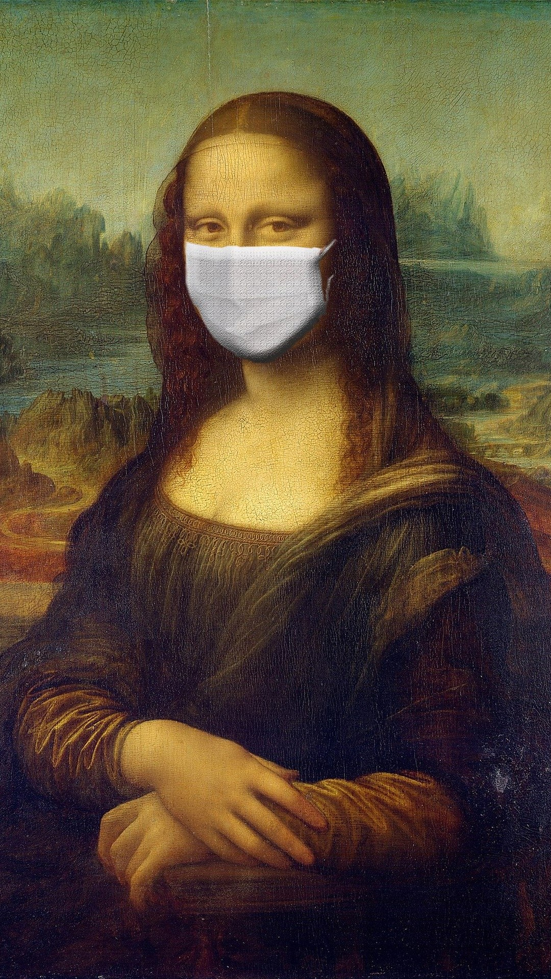 Mona Lisa with mask covid19 - wallpaper 1080p | Wallpaperize